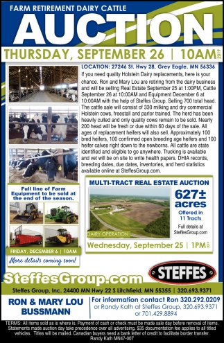 Farm Retirement Dairy Cattle Auction