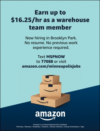Earn Up to $16.25/hr as a Warehouse Team Member