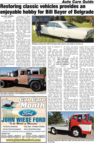 Restoring Classic Vehicles Provides an Enjoyable Hobby for Bill Bayer of Belgrade