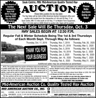Sauk Centre, MN: Mid-American Quality Tested Hay Auction