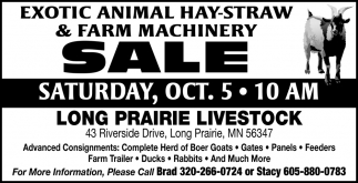 Exotic Animal Hay-Straw & Farm Machinery Sale