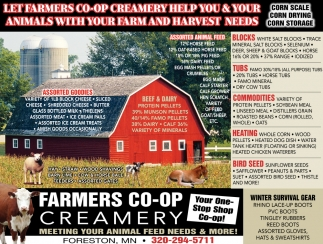 Let Farmers Co-op Creamery Help You & Your Animals with Your Farm & Harvest Needs