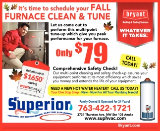 It's Time to Schedule Your Fall Furnace Clean & Tune