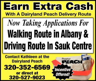 Now Taking Applications for Walking Route in Albany & Driving Route in Sauk Centre