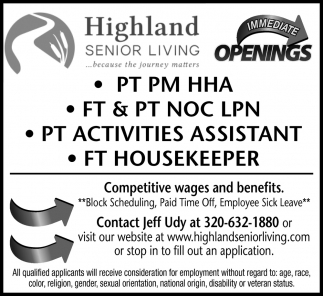Immediate Openings