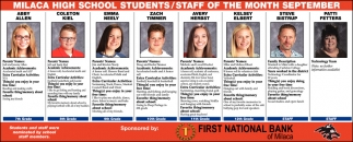 Milaca High School Students/ Staff of the Month September