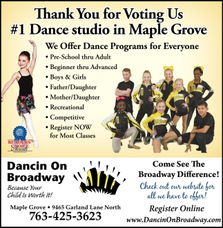 Thank You for Voting Us #1 Dance Studio in Maple Grove