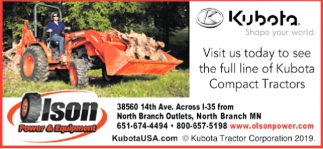 Visit Us Today to See the Full Line of Kubota Compact Tractors