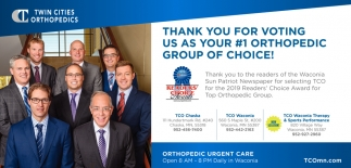 Thank You for Voting Us as Your #1 Orthopedic Group of Choice!