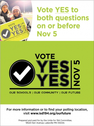 Vote Yes to Both Questions On or Before Nov 5.
