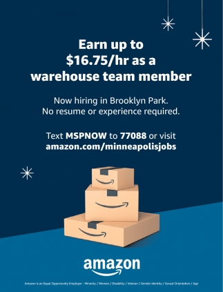 Earn Up to $16.75/hr as a Warehouse Team Member