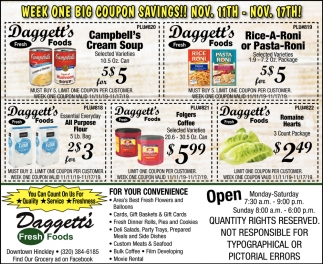 Week One Big Coupon Savings!