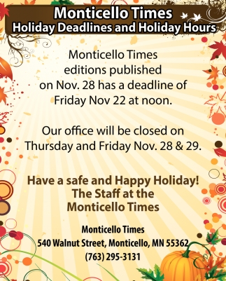 Holiday Deadlines and Holiday Hours
