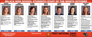 Milaca High School Students/ Staff of the Month October