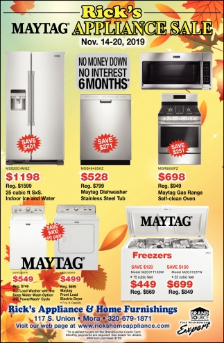 Rick's Maytag Appliance Sale