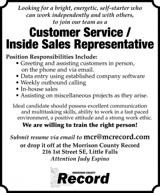 Customer Service/ Inside Sales Representative