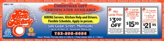 Christmas Gift Certificates Available