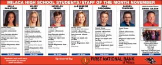 Milaca High School Students/ Staff of the Month November