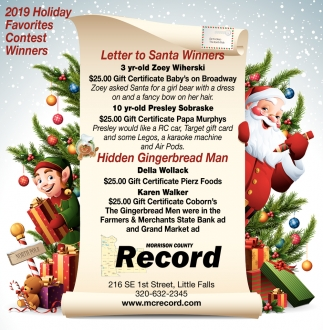 Letter to Santa Winners