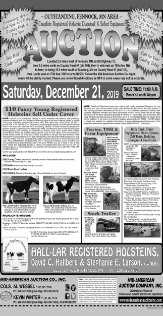 Auction Saturday, December 21, 2019
