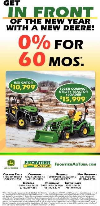 Get in Front of the New Year with a New Deere!