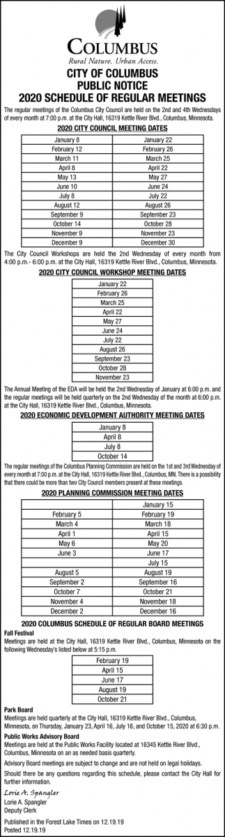 2020 Schedule of Regular Meetings