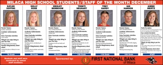 Milaca High School Students/ Staff of the Month December