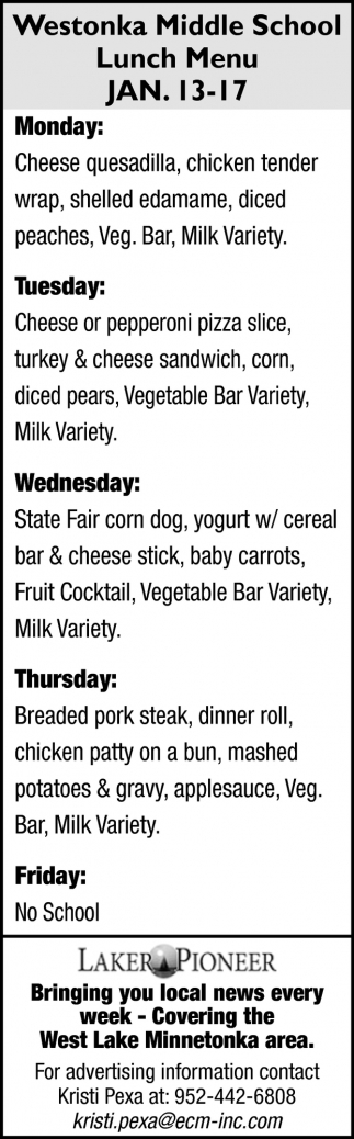 Westonkar Middle School Lunch Menu