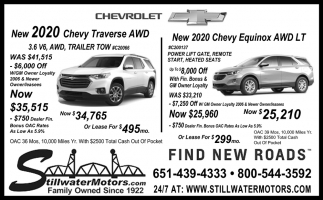 New 2020 Chevy Traverse AWD