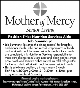 Nutrition Services Aide