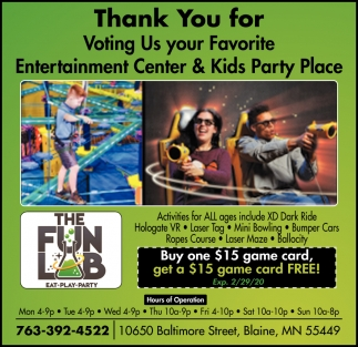 Thank You for Voting Us Your Favorite Entertainment Center & Kids Party Place