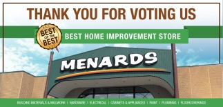 Thank You for Voting Us Best Home Improvement Store