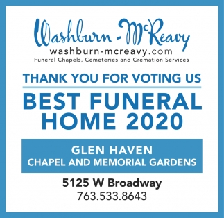 Thank You for voting Us Best Funeral Home 2020