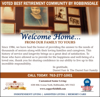 Voted Best Retirement Community by Robbinsdale