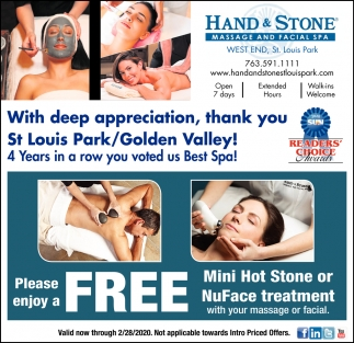 Please Enjoy a FREE mini Hot Stone or NuFace Treatment
