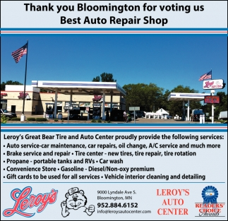 Thank You Bloomington for Voting Us Best Auto Repair Shop