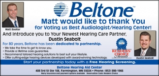 Matt Would Like to Thank You for Voting Us Best Audiologist/ Hearing Center!