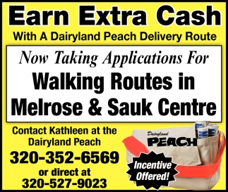 Now Taking Applications for Walking Routes in Melrose & Sauk Centre