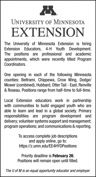 The U of M is an Equal Opportunity Educator and Employer