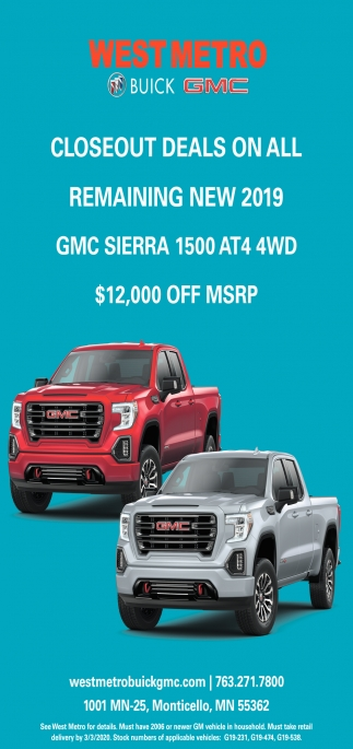 Closeout Deals on All Remaining New 2019 GMC Sierra 1500 AT4 4WD
