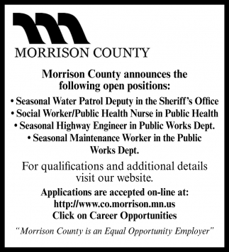 Seasonal Water Patrol Deputy in the Sheriff's Office & Social Worker/ Public Health Nurse in Public Health