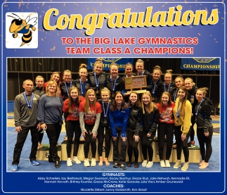 Congratulations to the Big Lake Gymnastics Team Class A Champions!