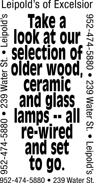 Take a Look at Our Selection of Older Wood, Ceramic and Glass Lamps