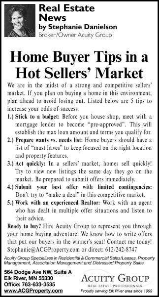 Home Buyer Tips in a Hot Sellers' Market