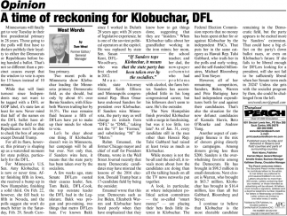 A Time of Reckoning for Klobuchar, DFL
