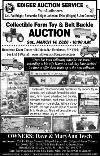 Collectible Farm Toy & Belt Buckle Auction