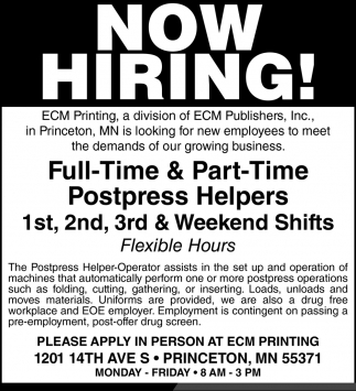 Full-Time & Part-Time Postpress Helpers