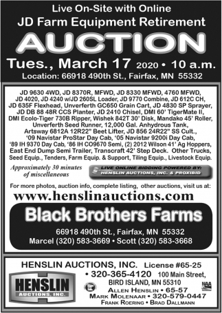 JD Farm Equipment Retirement Auction