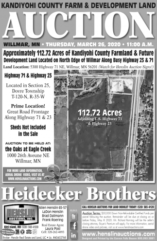 Kandiyohi County Farm & Development Land Auction
