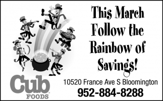 This March Follow the Rainbow of Savings!